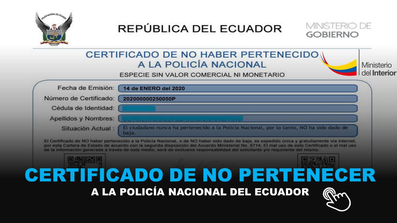 certificado de no pertenecer a la policia